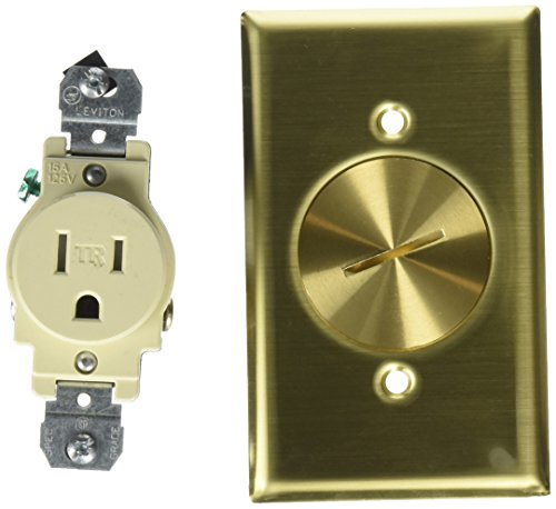 - Leviton 5249-TFB 1-Gang Single Receptacle Floor Box, Tamper-Resistant, Brass Finish, 15-Amp, 125V