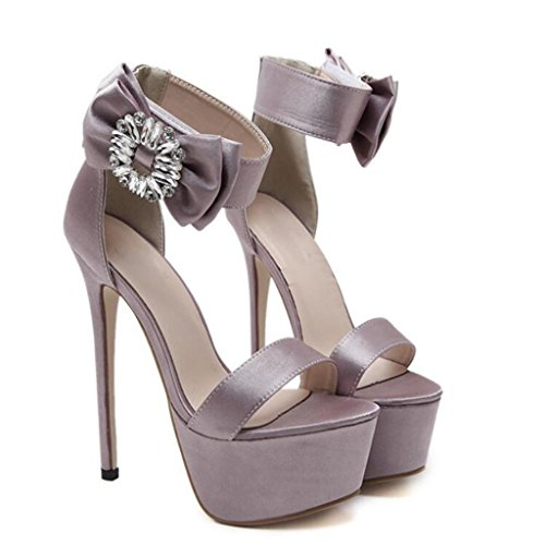 W&LM Ms High heels Sandals big flower Crystal Button Sandals Ok Fish mouth Sandals Brown