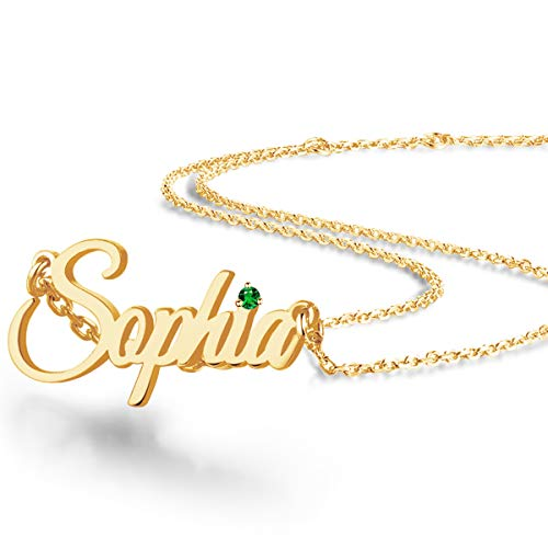 EVER2000 Custom Name Necklace, 18K Gold Plated Nameplate Personalized Jewelry Gift for Women