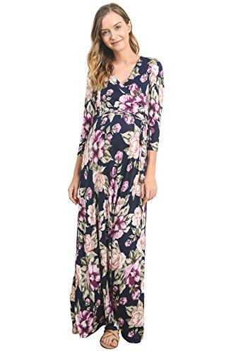 LaClef Womens Floral Print Draped 3//4 Sleeve Long Maxi Maternity Dress