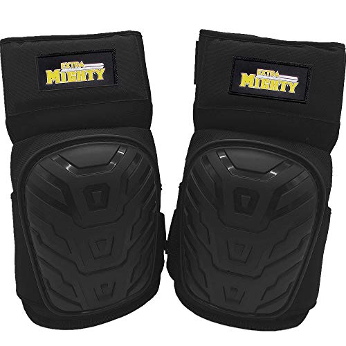 ExtraMighty Professional Knee Pads - Heavy Duty Foam Padding and Comfortable Gel Cushion - Non Slip Adjustable Double Straps Without Clips That Snap Off ()