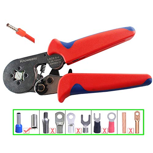 Ferrule Crimping Tool,Knoweasy adjustable Crimping Tools Used for 0.25-6.0mm²(AWG23-10) Cable End-sleeves, wire ferrule crimper