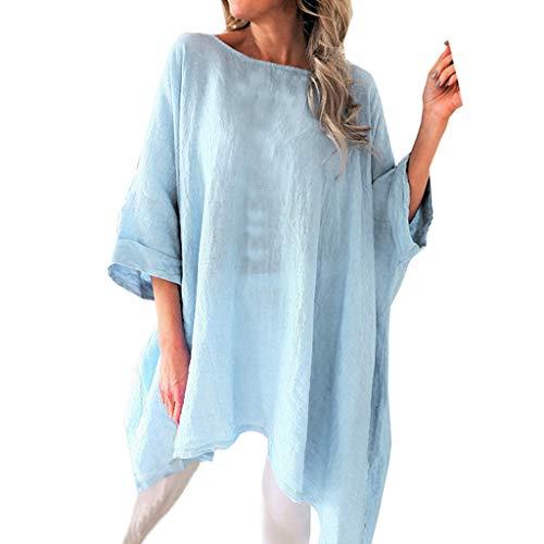 TUSANG Women Tees Cotton Linen Batwing Half Sleevel Shirt Irregular Hem Casual Loose Blouse Loose Fit Comfy Tunic(Blue,US-10/CN-XL)