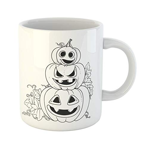Semtomn Funny Coffee Mug Three Lantern From Pumpkins the Cut Out of Grin 11 Oz Ceramic Coffee Mugs Tea Cup Best Gift Or Souvenir -