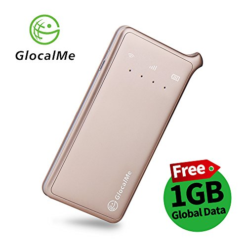 GlocalMe U2 4G Mobile Hotspot Global Wi-Fi with 1GB Global Initial Data, SIM Free, Coverage in Over 100 Countries Featuring Free Roaming, Compatible with Smartphones, Pads, Laptops and More(Gold) by Glocalme