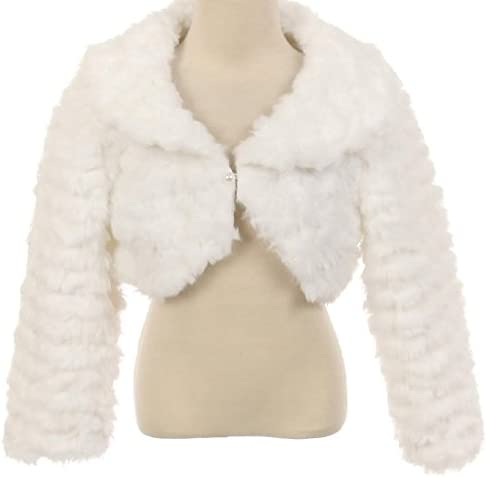 AkiDress Cap Style Fur Bolero with Stripes Pattern for Little Girl