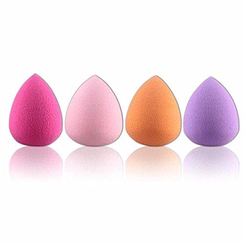 Scrox Set de esponja cosmética de 4 piezas con forma de huevo y esponja de licuadora, utilice estas herramientas para mezclar base húmeda o en polvo y corrector (Color aleatorio)