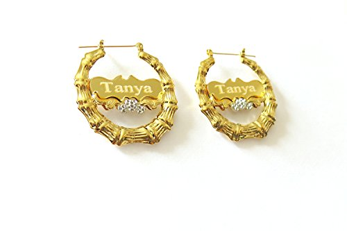 Bamboo Personalized Name Earrings (Tina&Co Personalized Name Earring Custom Round Bamboo Hoop Earrings with Yellow Gold Overlay For Women)