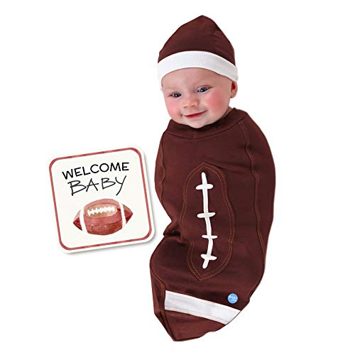 BABYjoe - Baby Cocoon Swaddle with Hat and Announcement Card - Football Baby - Newborn to 15lbs - Made in USA ...