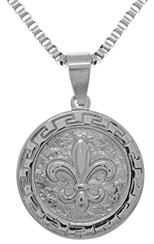(Jewelry Trends Stainless Steel Fleur De Lis Pendant on 22 Inch Box Chain Necklace )