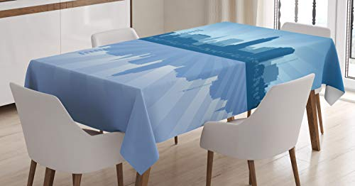 Ambesonne Nebraska Tablecloth, Lincoln City Skyline Silhouette Illustration in Blue Metropolis Buildings, Dining Room Kitchen Rectangular Table Cover, 60
