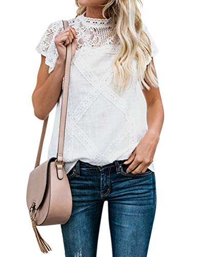 (ZXZY Women Cute Lace Blouse Top Short Sleeve Lace Hollow Out Turtle Neck T Shirt)