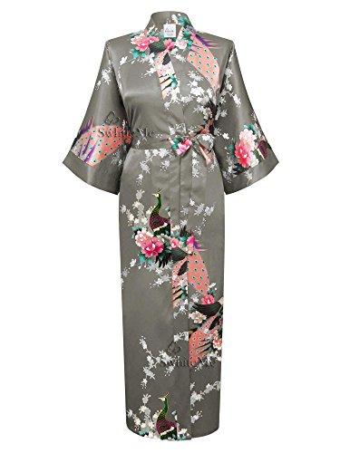 Swhiteme Women's Kimono Robe, Long, One Size, Peacock, Gray, KPL01B