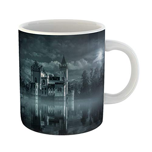 Emvency Coffee Tea Mug Gift 11 Ounces Funny Ceramic Dark Mystic Water Castle in Moonlight Haunted Gothic Gifts For Family Friends Coworkers Boss Mug