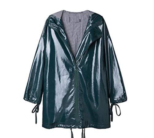 CHANGYUGE Autumn Fashion Women Green Faux Leather Long Trench Coats