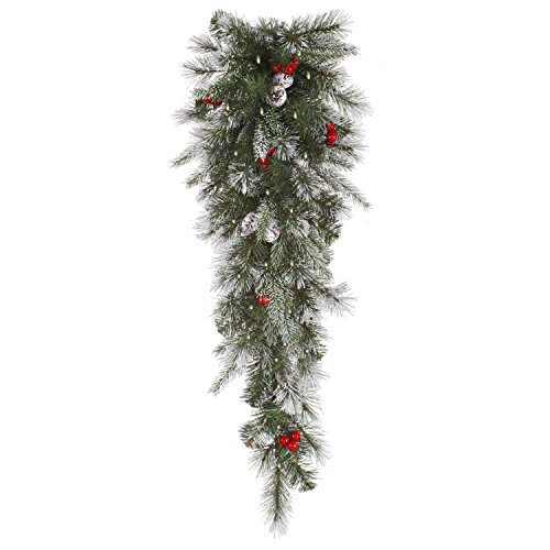 Vickerman Pre-Lit Frosted Pine Berry Artificial Christmas...