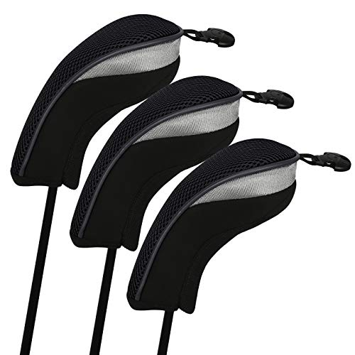 Headcovers Gloveskin Iron - HDE Universal Golf Club Head Covers Replacement Driver Fairway Wood with Interchangeable Tags (Set of 3, Black)