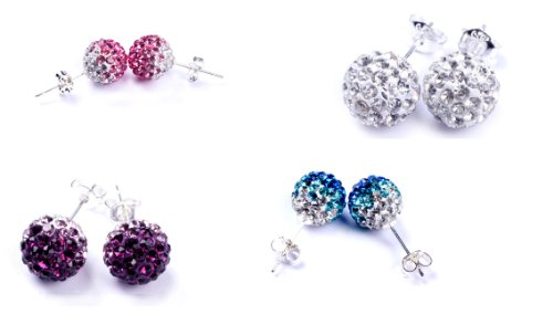 10mm gradient clear to blue two colors pave shine crystal ball earrings