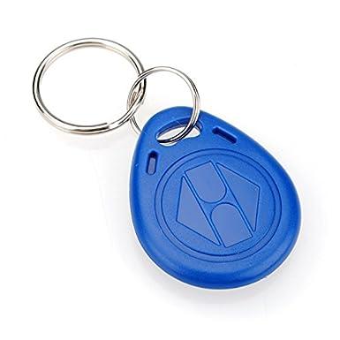 YAVIS 100pcs Writable RFID Keychains 125Khz T5577//EM4305 NFC Token tag Key Ring Proximity ID Keyfobs Card for Door Control Entry Access Key Fobs Card Blue