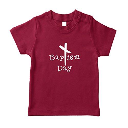 Black Cross Baptism Day Christian Baby Cotton Short Sleeve Crewneck Unisex Toddler T-Shirt Jersey - Garnet, 3T ()