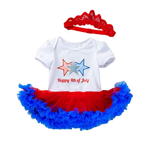 Starwak Infant Baby Girl Outfit Short Sleeve Gradient Tutu Dress +Headband Party Costume 2PCS Clothing Set (White, 0-3 Months)