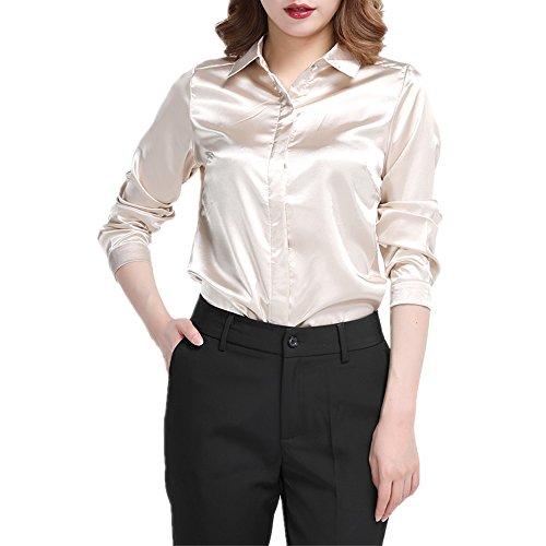 Plus Size Silk Blouse - YOUMU Women Satin Silk Long Sleeve Button-Down Shirt Formal Work Silky Blouse Top