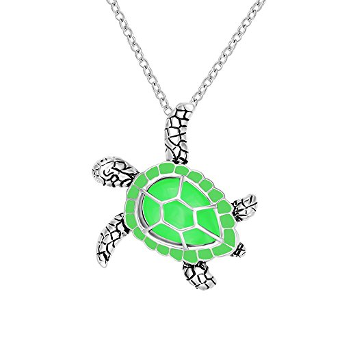 - CHUANGYUN Health and Longevity Mutil-Colored Luminous Summer Sea Turtle Pendant Necklace 18'' (Green)