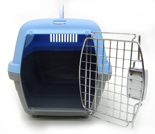 YML Small Plastic Carrier Crate for Small Animals, Blue, My Pet Supplies