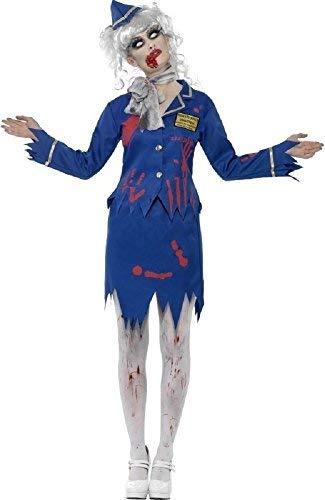 Ladies Zombie Air Hostess Cabin Crew Trolley Dolley Dead Corpse Halloween Fancy Dress Costume UK 8-18 (UK 16-18) Blue