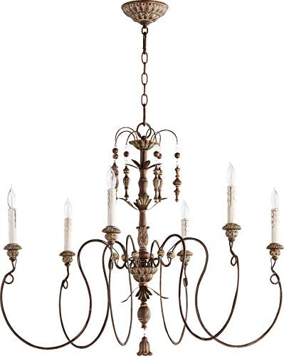 Quorum 6006-6-39 Traditional Six Light Chandelier from Salento Collection Finish