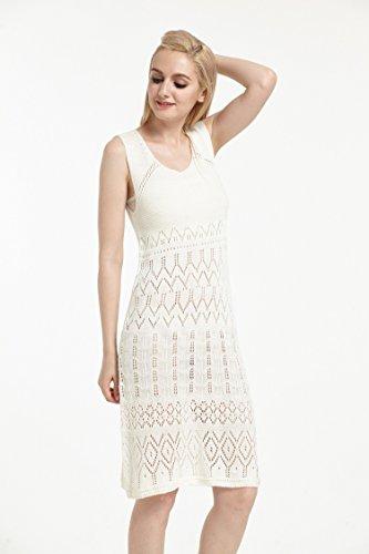 Hawaii Hangover Crochet playa de mediana longitud de cuello hasta cubrir vestido en blanco crema