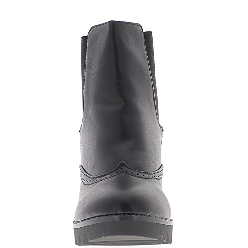ChaussMoi Black Wedge Boots 8cm Lined Heel Cleats vnOqFjX