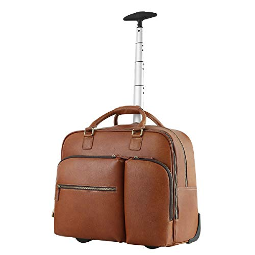 Leathario Leather Suitcase Trolley Luggage Travel Duffle Bag Weekend Overnight Rolling Suitcase Rolling Laptop Case Wheeled Briefcase Bag Suitcase Roller Boarding Under Seat Case