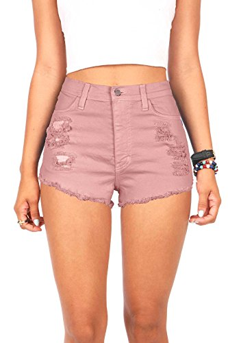 Vibrant Womens Juniors Denim High Waist Cutoff Shorts
