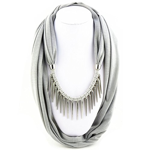 Ysiop Women Solid Infinity Necklace Scarf Tassel Neckerchief Metal Strip Pendant Gray