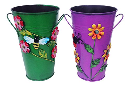 (Set of 2 Handmade Iron Vase or Planter or Holder with Raised Flowers Ladybug Butterfly Dragonfly Bee Birds (Green with Bee and Purple with Sunflower) Size 6