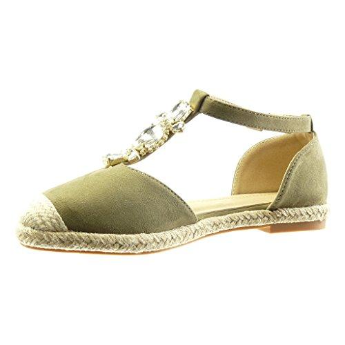 Angkorly Women's Fashion Shoes Espadrilles Sandals - t-Bar - Jewelry - Rhinestone - Cord Block Heel 2 cm Green rTIBNy