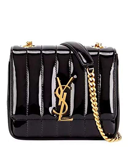 bc0988dd6 Saint Laurent Vicky Monogram YSL Small Quilted Patent Leather Crossbody Bag  made in Italy: Handbags: Amazon.com