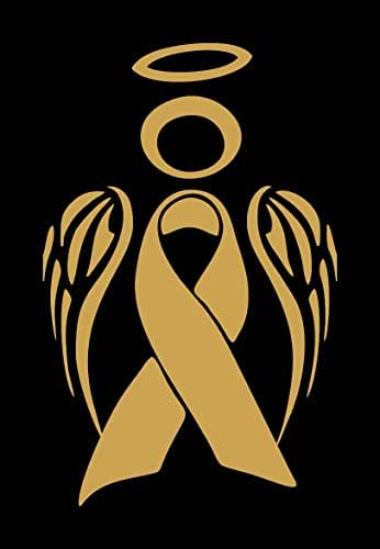 Barking Sand Designs Gold Childhood Cancer Angel Ribbon Awareness - Die Cut Vinyl Window Decal/Sticker for Car/Truck