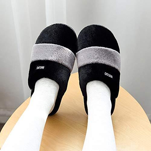 Hiver Maison Épais Garder Chaud Intérieur Taille Noir Velours Anti Pantoufles dérapant Au Et Plancher De Style Plus Pink Coréen 36 Fond couleur Coton Td Automne 35 vYtWnT