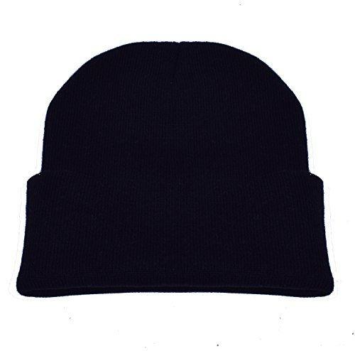 PZLE Black Beanie Black Skull Cap Knit Beanie Black Beanie Slouch Hats Black,One Size (Black Knit Beanie Cap)