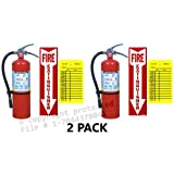 (Lot of 2) 10 Lb. Type ABC Dry Chemical Fire Extinguishers with Wall Hooks, Signs and Inspection Tags