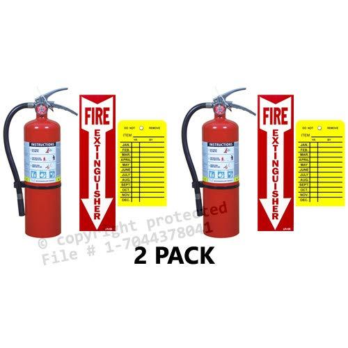 (Lot of 2) Victory 5 Lb. Type ABC Dry Chemical Fire Extinguishers with Wall Hooks, Signs and Inspection Tags
