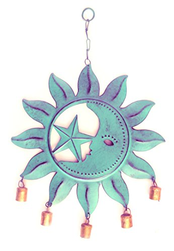 WinnerBrown Metal Celestial Wind Chime with Crescent Moon Sun and Star, 5 Bells hanging from the bottom in Vibrant Green Patina Finish 24 Inch