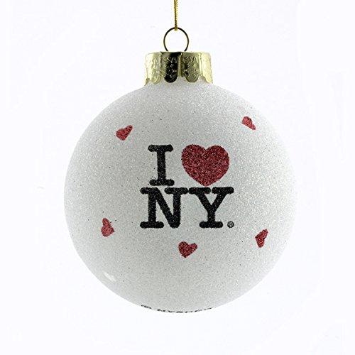 Bundle Pack of 12, Kurt Adler I Love NY Glass Ball Ornament