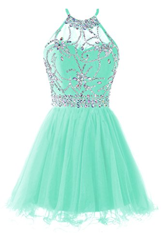 Musever Women's Halter Short Homecoming Dress Beading Tulle Prom Dress Light Mint US 0