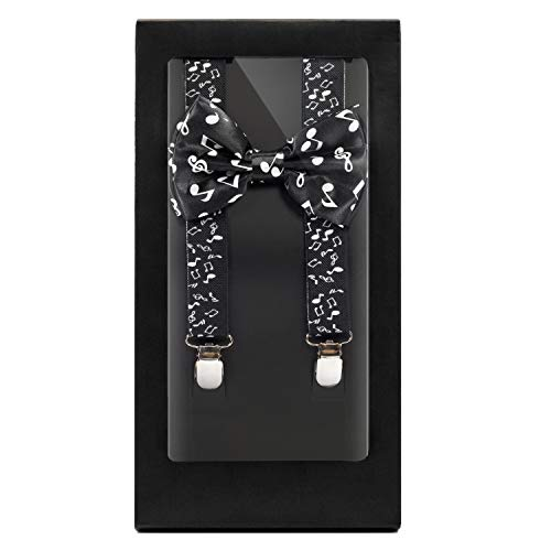 Y-Back Suspender and Bow Tie Matching Set, Adjustable, Clip Design  Great Gift   (Musical Notes)