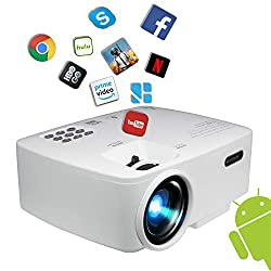 Projector Smart Android Wifi Bluetooth Video Beam By Bevision 220 Ansi Lumen 180 Max For Movie Games Quiet Fan Built In Speaker With Hdmi Vga Usb Av Ports