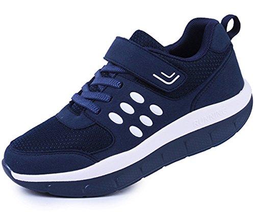 DADAWEN Women's Platform Wedges Tennis Walking Sneakers Comfortable Lightweight Casual Fitness Shoes Dark Blue