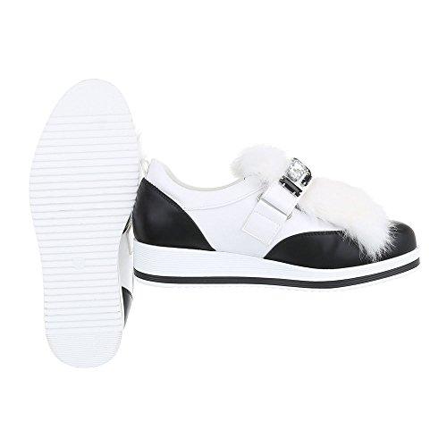 Ital-Design - Tobillo bajo Mujer blanco y negro